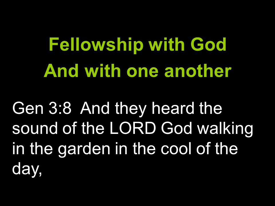 Fellowship with God And with one another Gen 3:8 And they heard the sound of the LORD God walking in the garden in the cool of the day,