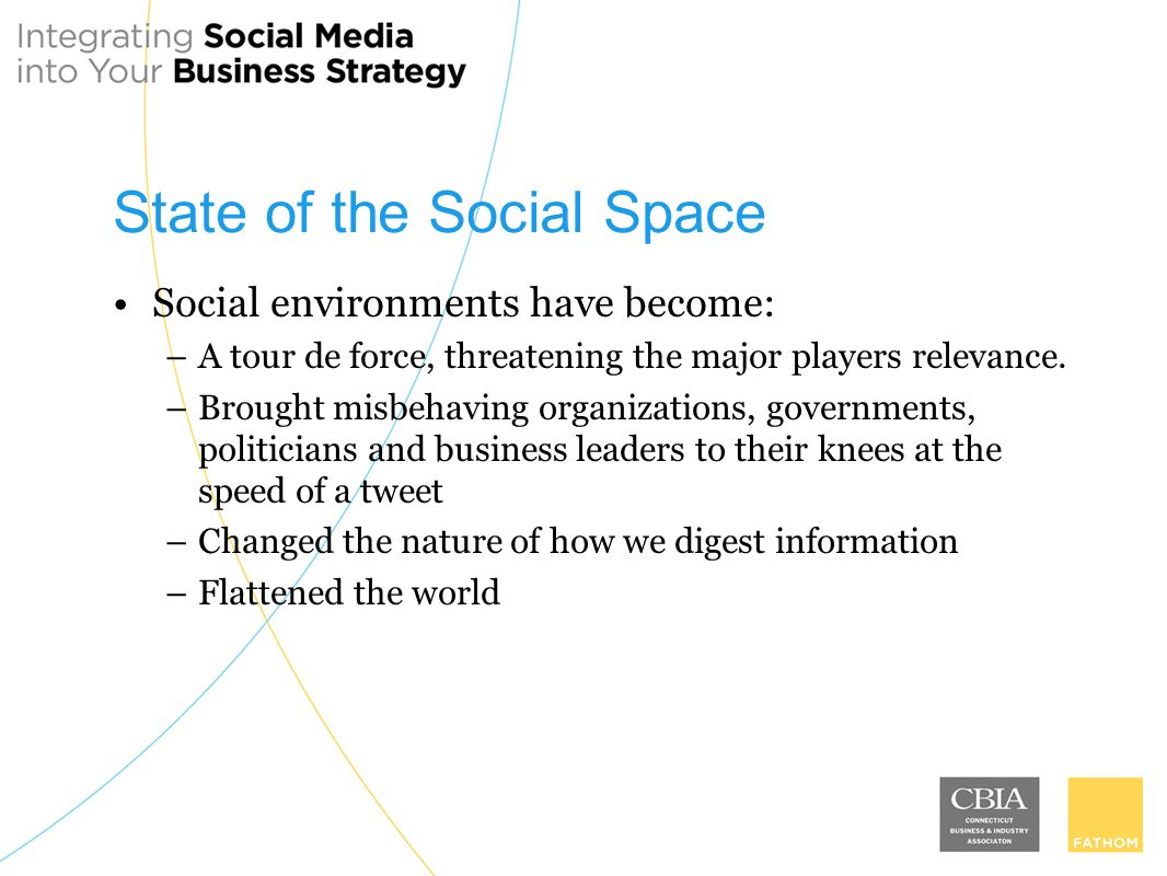 State of the Social Space Social environments have become: –A tour de force, threatening the major players relevance.