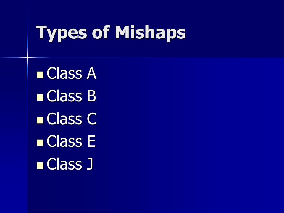 Types of Mishaps Class A Class A Class B Class B Class C Class C Class E Class E Class J Class J