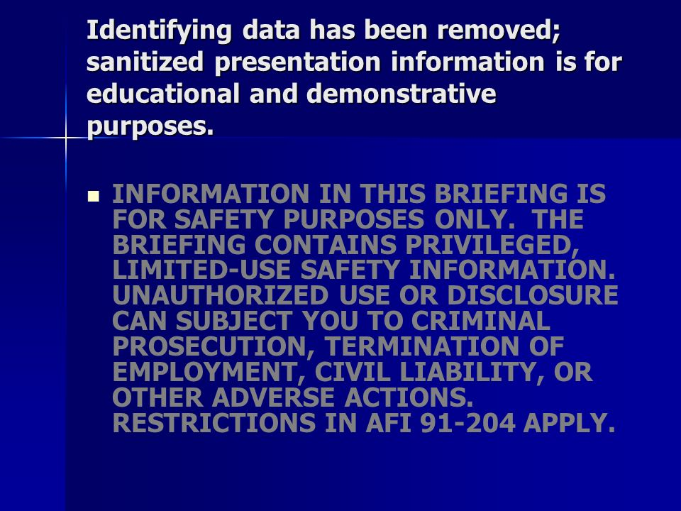 Identifying data has been removed; sanitized presentation information is for educational and demonstrative purposes.