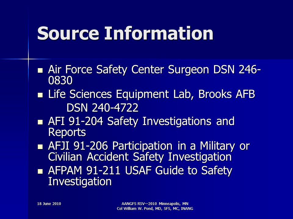 4 th Edition, Feb 2006 AANGFS RSV2010 Minneapolis, MN Col William W. Pond, MD, SFS, MC, INANG