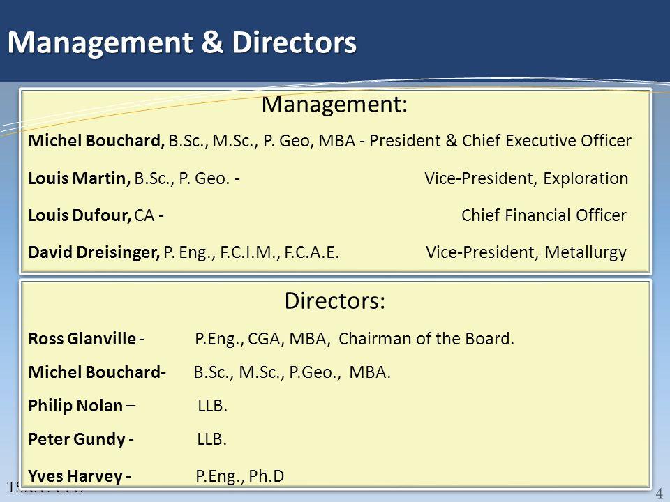 TSX:V: CFO Management & Directors Management: Michel Bouchard, B.Sc., M.Sc., P. Geo, MBA - President & Chief Executive Officer Louis Martin, B.Sc., P.