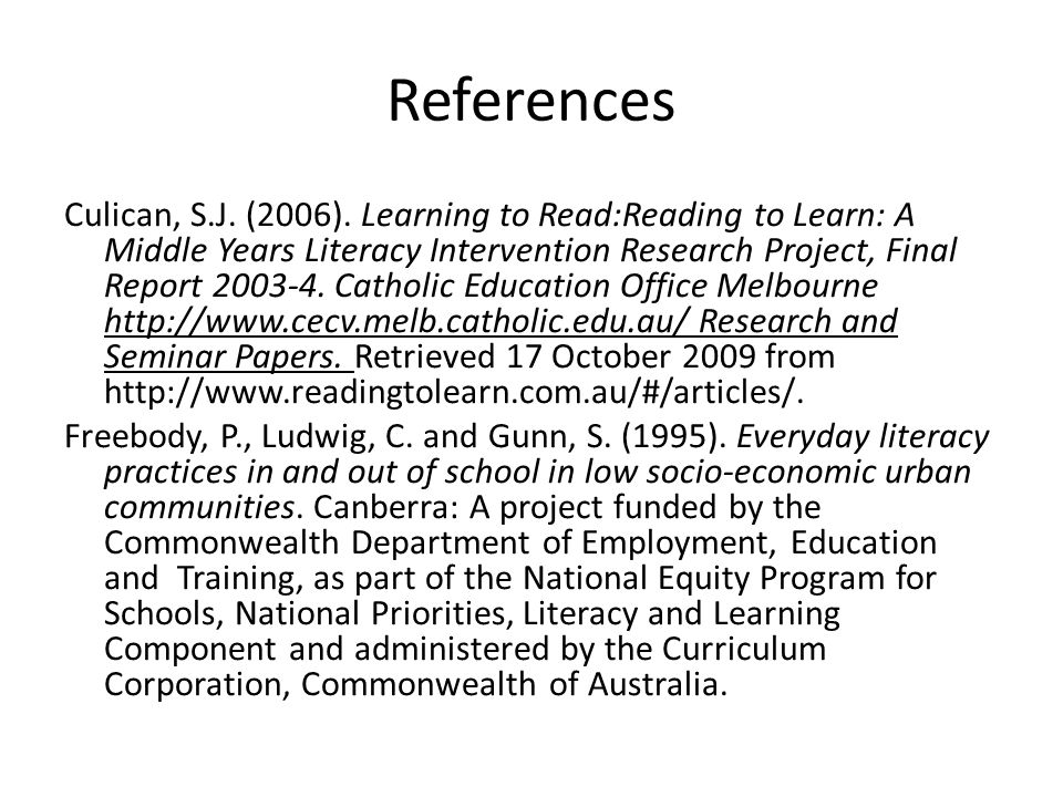 References Culican, S.J. (2006).