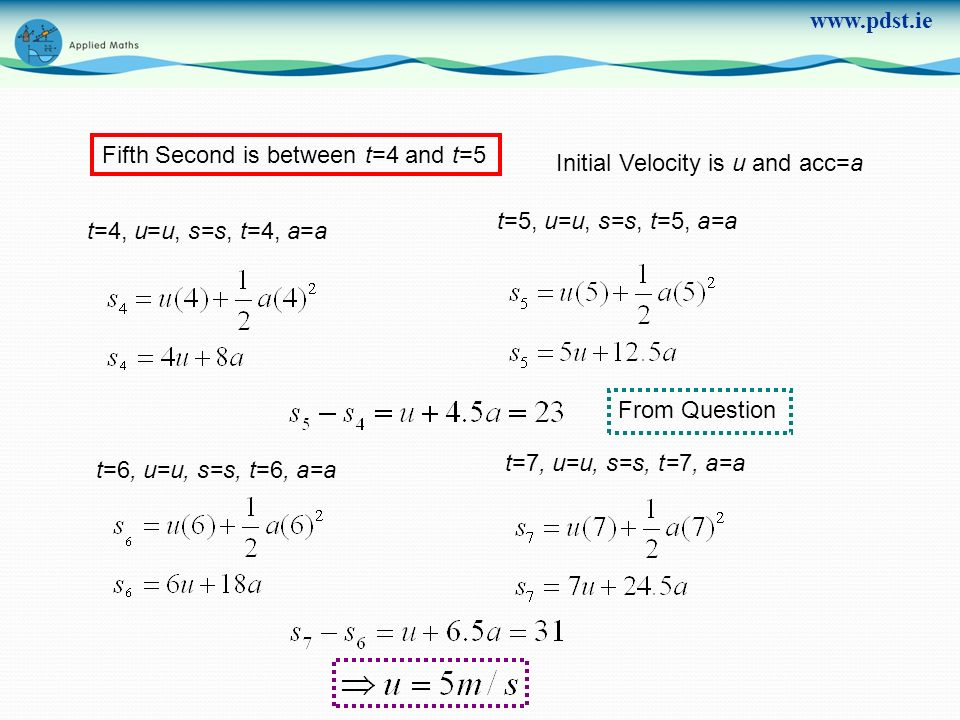 www.pdst.ie Fifth Second is between t=4 and t=5 Initial Velocity is u and acc=a t=4, u=u, s=s, t=4, a=a t=5, u=u, s=s, t=5, a=a From Question t=7, u=u