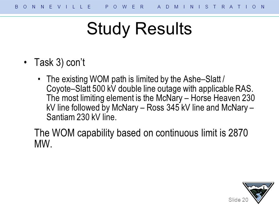 B O N N E V I L L E P O W E R A D M I N I S T R A T I O N Slide 20 Study Results Task 3) cont The existing WOM path is limited by the Ashe–Slatt / Coy