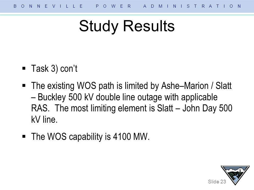 B O N N E V I L L E P O W E R A D M I N I S T R A T I O N Slide 23 Study Results Task 3) cont The existing WOS path is limited by Ashe–Marion / Slatt