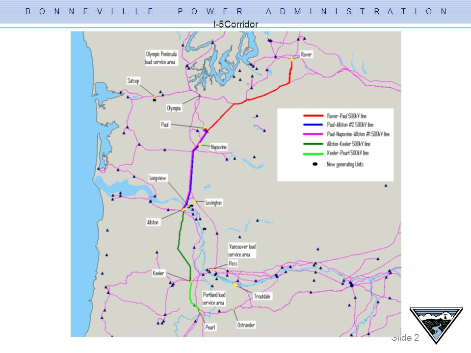 B O N N E V I L L E P O W E R A D M I N I S T R A T I O N Slide 23 Existing System Performance Other lines requiring upgrades in the I-5 corridor to support load service and future generation interconnections: – (BPA) Keeler-Forest Grove 115kV line – (BPA) Allston-Rainier-Goble-St.Helens 115kV line – (PAC) Astoria-Seaside-Cannon Beach 115kV line – (BPA & CCP) Longview-Cardwell-Lexington 115kV loop – (BPA) Keeler-St.