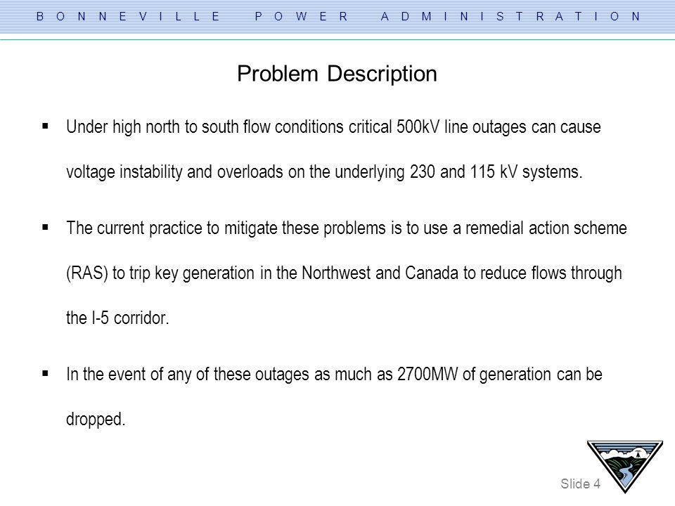 B O N N E V I L L E P O W E R A D M I N I S T R A T I O N Slide 4 Problem Description Under high north to south flow conditions critical 500kV line ou