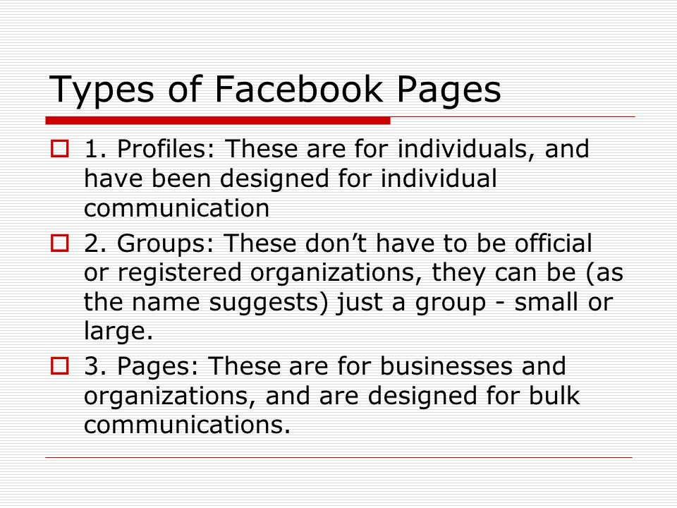 Types of Facebook Pages 1.