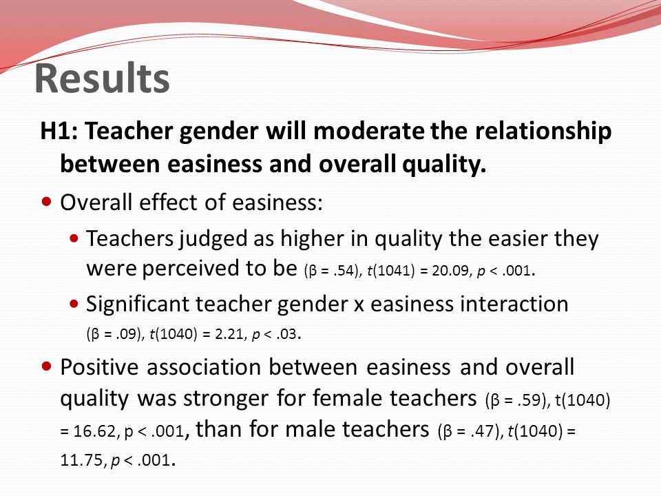 Results H1: Teacher gender will moderate the relationship between easiness and overall quality. Overall effect of easiness: Teachers judged as higher