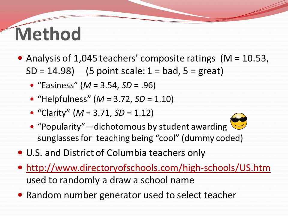 Method Analysis of 1,045 teachers composite ratings (M = 10.53, SD = 14.98) (5 point scale: 1 = bad, 5 = great) Easiness (M = 3.54, SD =.96) Helpfulne
