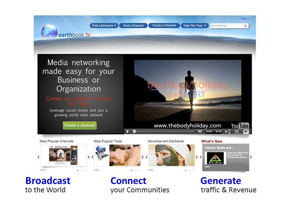 Broadcast Connect Generate to the Worldyour Communities traffic & Revenue