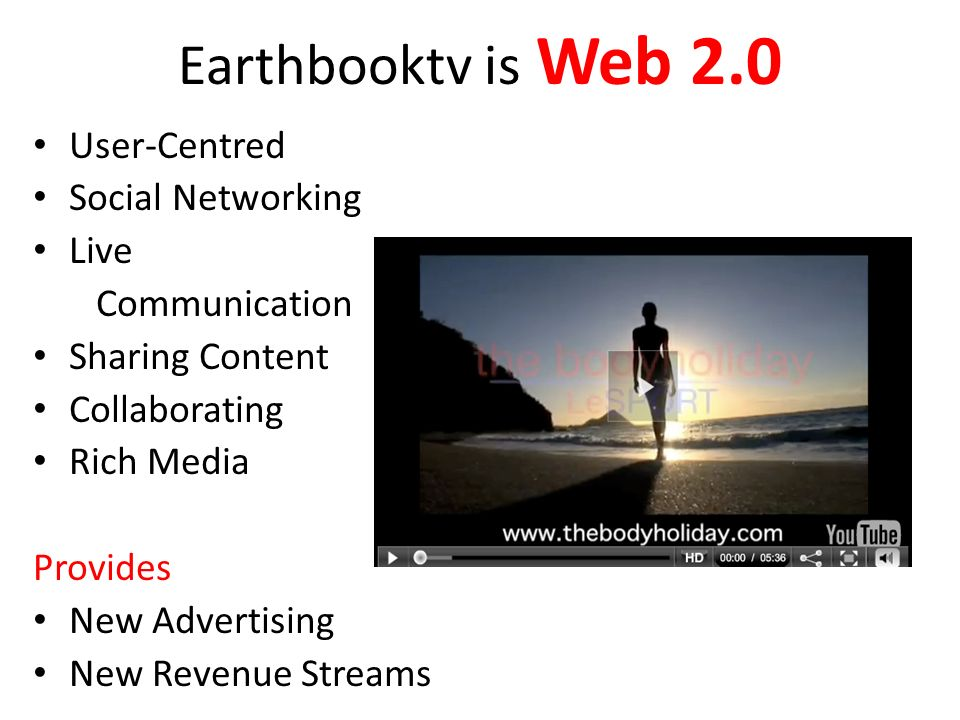Earthbooktv is Web 2.0 User-Centred Social Networking Live Communication Sharing Content Collaborating Rich Media Provides New Advertising New Revenue Streams