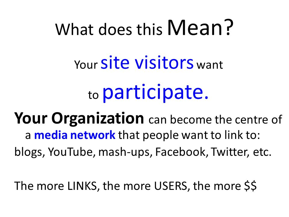 What does this Mean. Your site visitors want to participate.