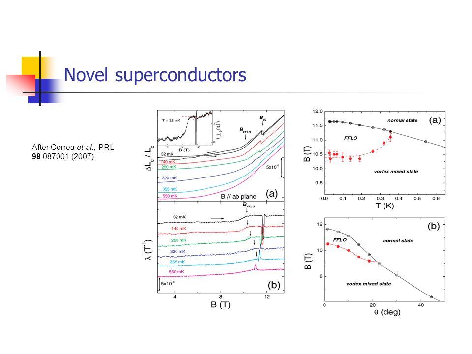 Novel superconductors After Correa et al., PRL 98 087001 (2007).