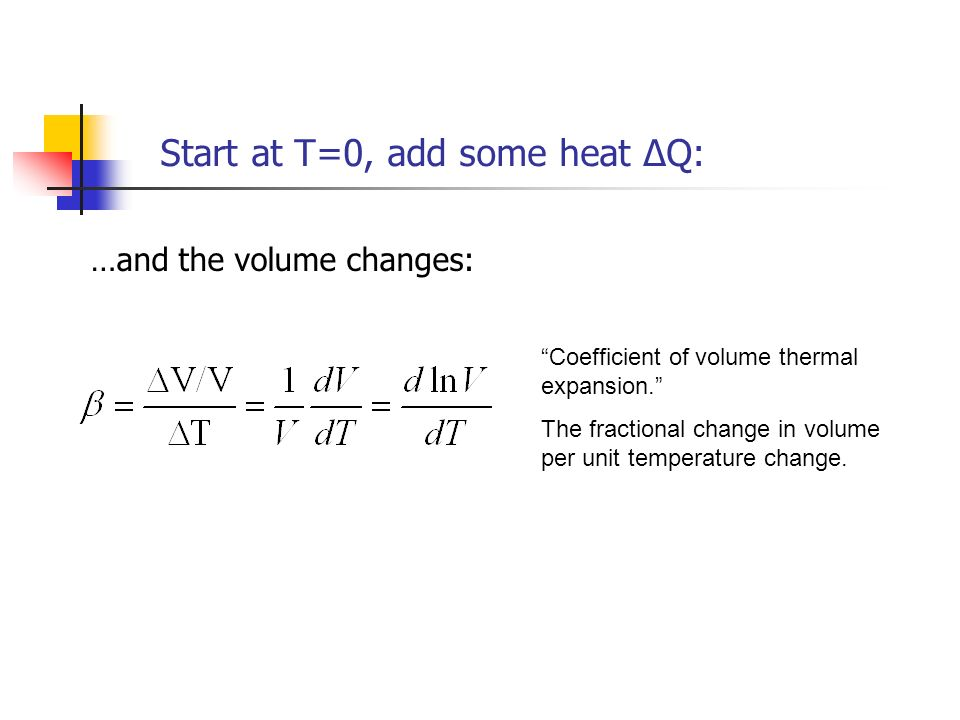 Start at T=0, add some heat ΔQ: …and the volume changes: Coefficient of volume thermal expansion. The fractional change in volume per unit temperature