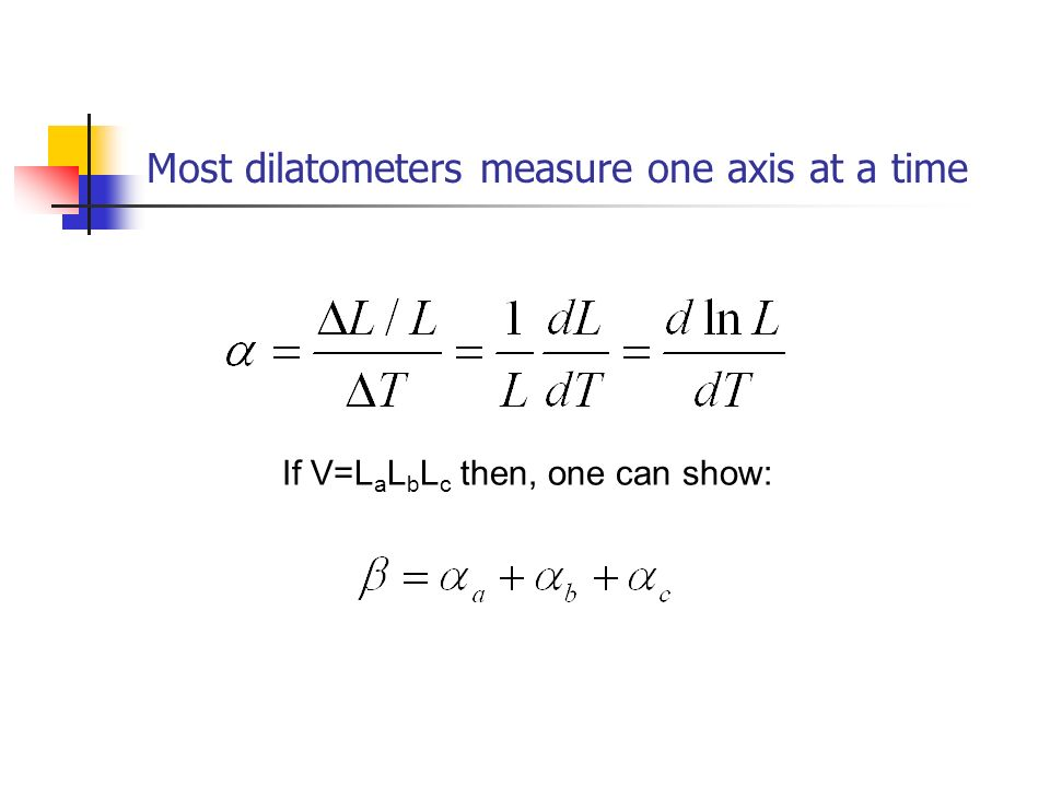 Most dilatometers measure one axis at a time If V=L a L b L c then, one can show: