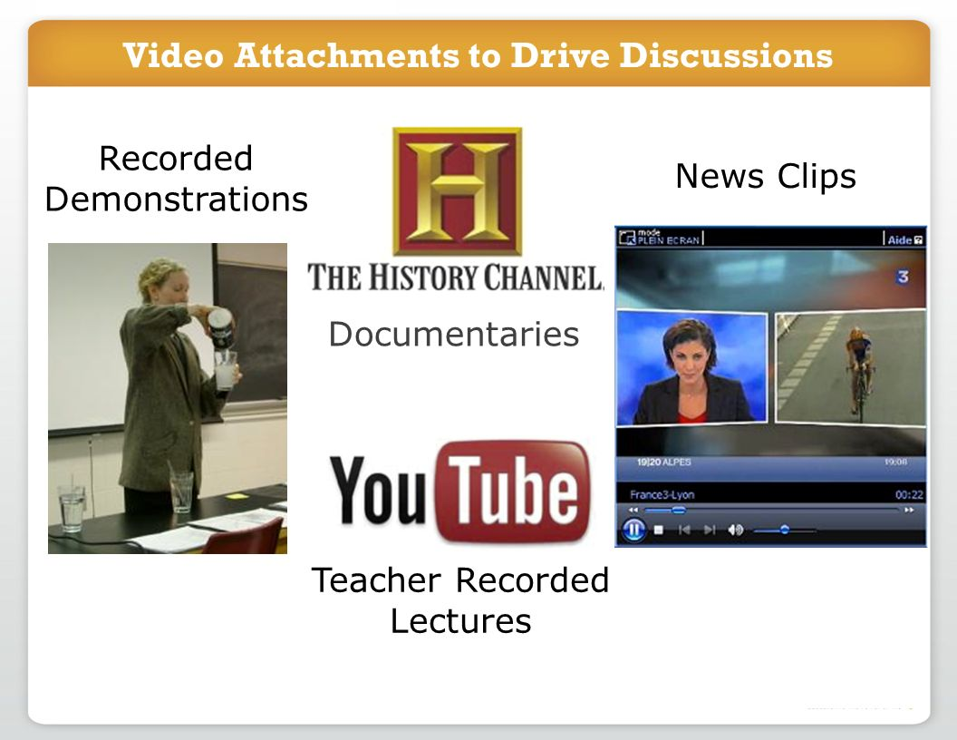Video Attachments to Drive Discussions Documentaries Teacher Recorded Lectures News Clips Recorded Demonstrations