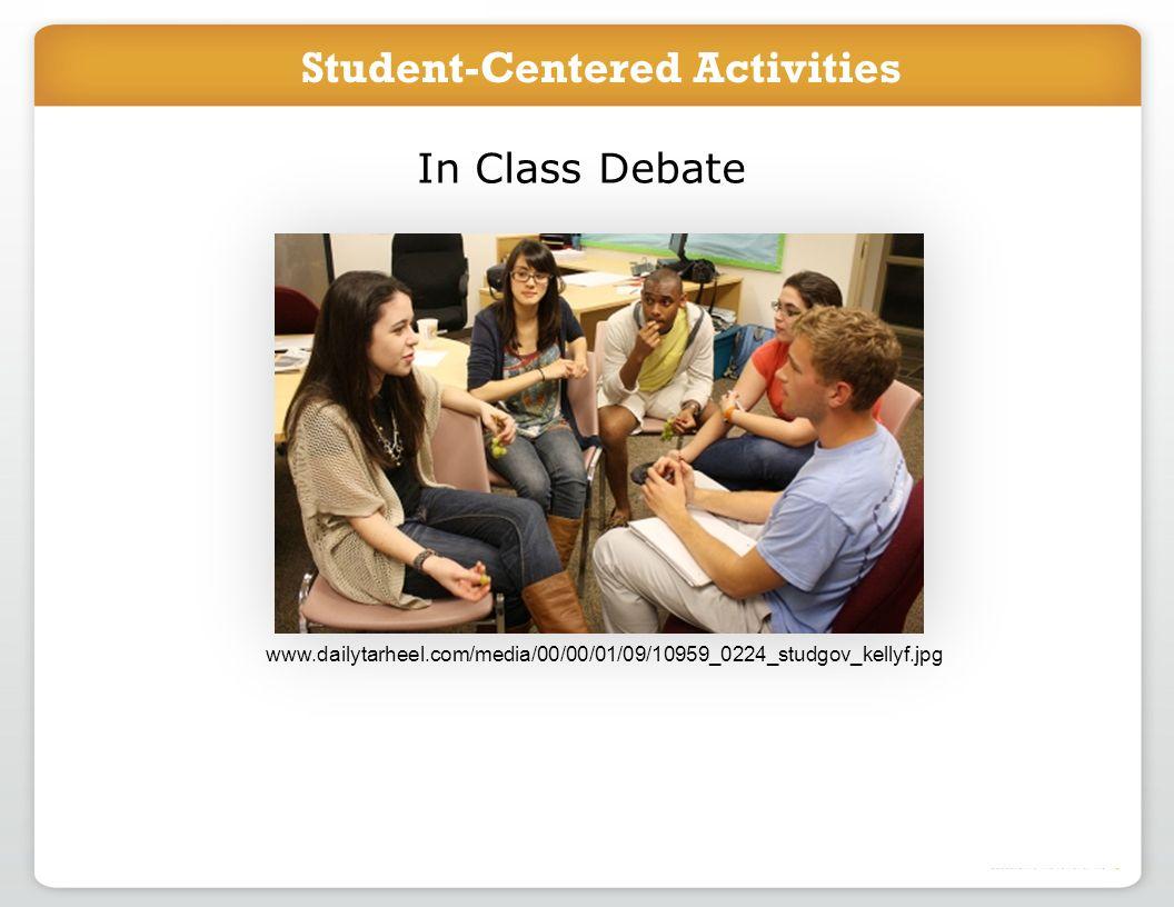 Introduce project in class Students work online to accomplish task In Class Debate www.dailytarheel.com/media/00/00/01/09/10959_0224_studgov_kellyf.jp