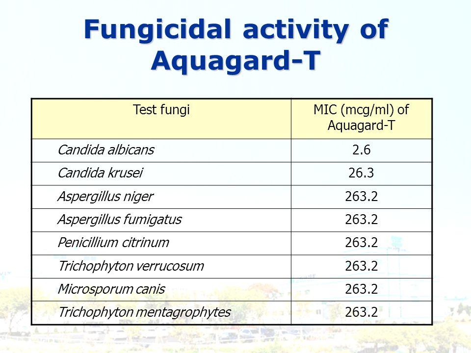 Test fungiMIC (mcg/ml) of Aquagard-T Candida albicans2.6 Candida krusei26.3 Aspergillus niger263.2 Aspergillus fumigatus263.2 Penicillium citrinum263.