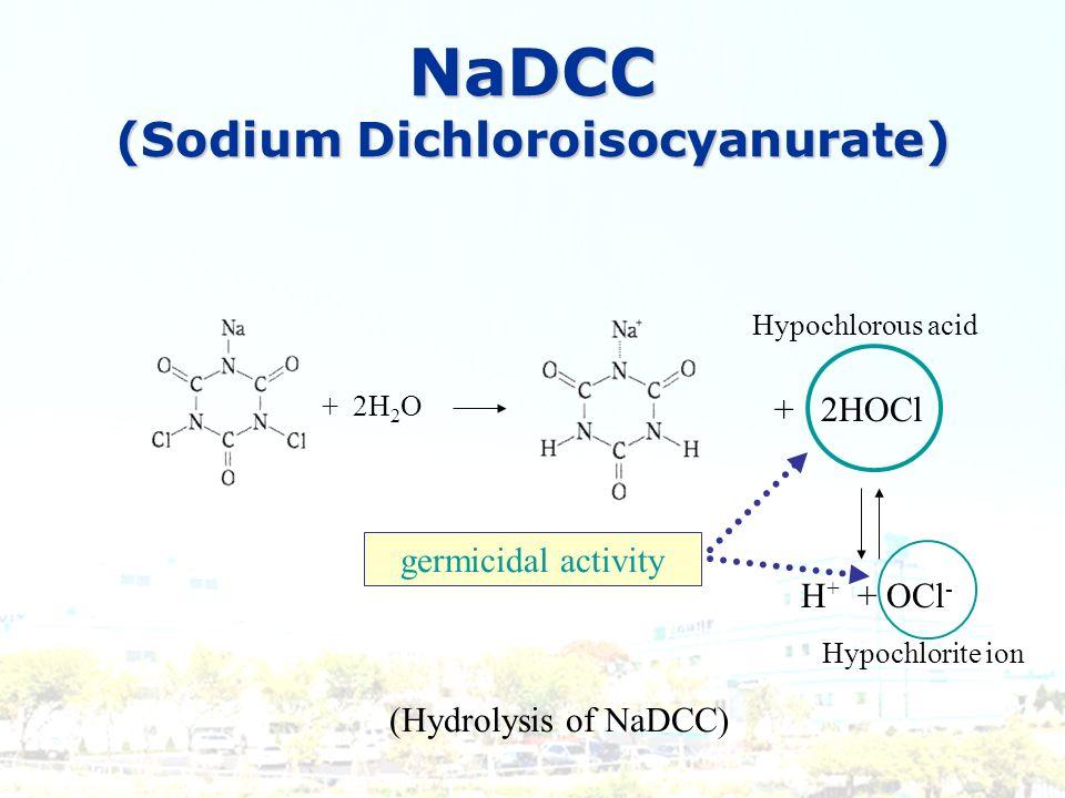 NaDCC (Sodium Dichloroisocyanurate) (Hydrolysis of NaDCC) + 2H 2 O germicidal activity + 2HOCl Hypochlorous acid H + + OCl - Hypochlorite ion