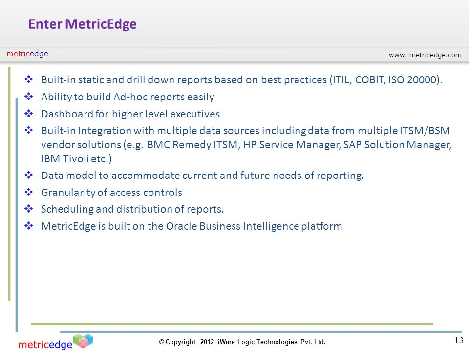 www. metricedge.com © Copyright 2012 iWare Logic Technologies Pvt. Ltd. metricedge Enter MetricEdge Built-in static and drill down reports based on be
