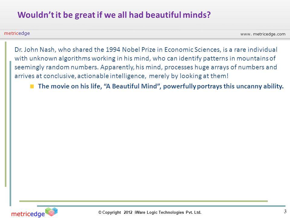 www. metricedge.com © Copyright 2012 iWare Logic Technologies Pvt. Ltd. metricedge Wouldnt it be great if we all had beautiful minds? Dr. John Nash, w