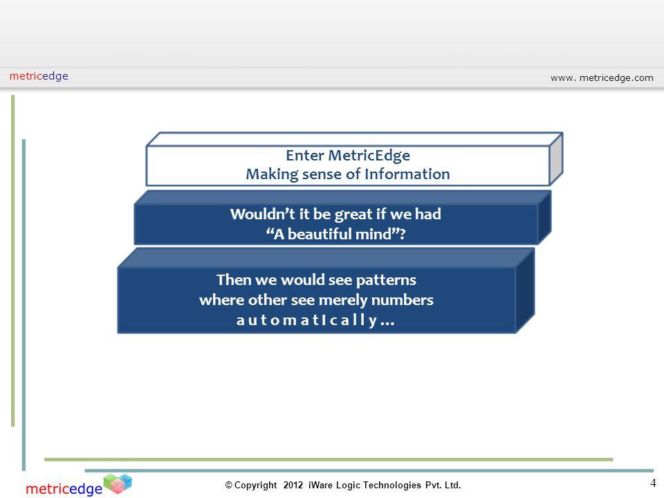 www. metricedge.com © Copyright 2012 iWare Logic Technologies Pvt. Ltd. metricedge 4 Enter MetricEdge Making sense of Information Wouldnt it be great