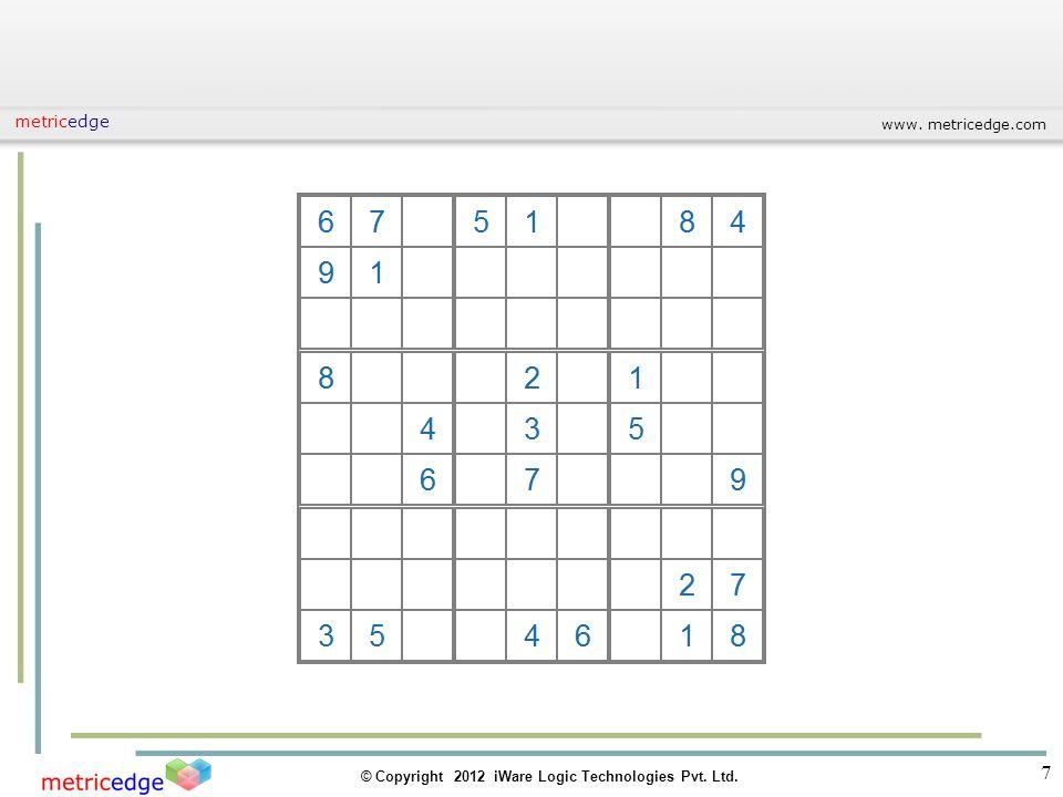 www. metricedge.com © Copyright 2012 iWare Logic Technologies Pvt. Ltd. metricedge 7