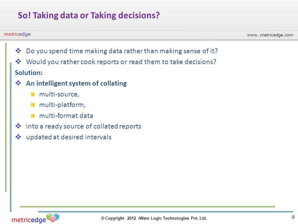 www. metricedge.com © Copyright 2012 iWare Logic Technologies Pvt. Ltd. metricedge So! Taking data or Taking decisions? Do you spend time making data