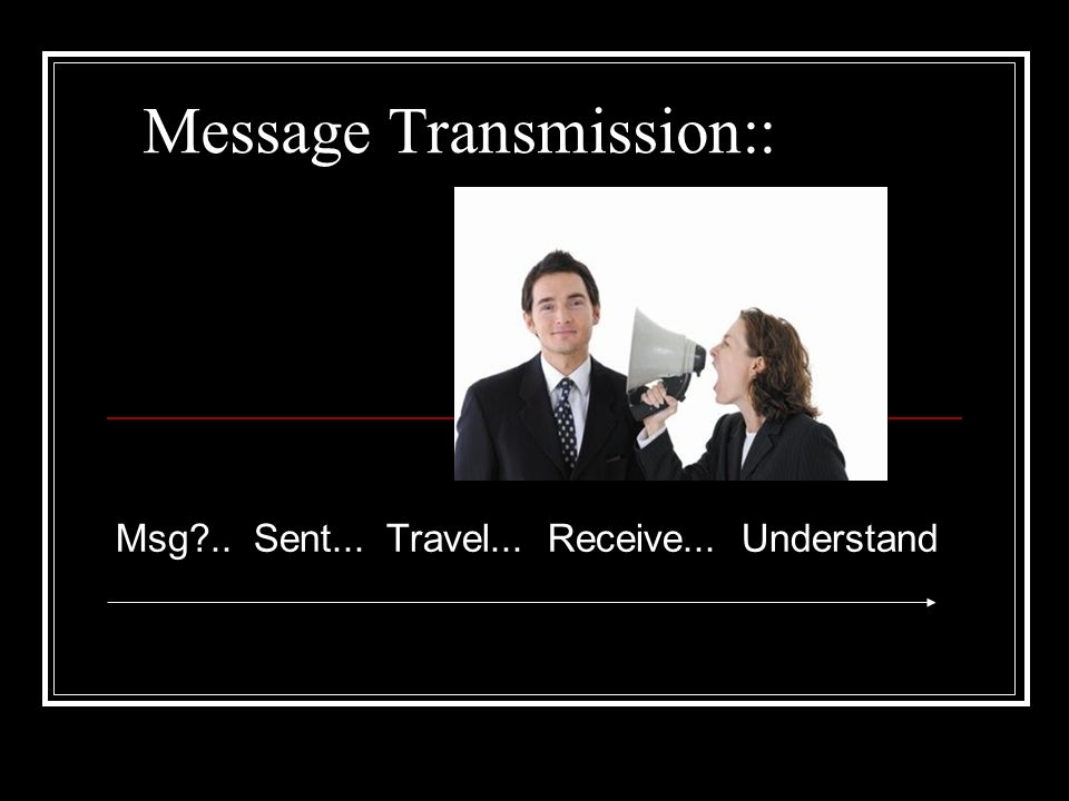 Message Transmission:: Msg .. Sent... Travel... Receive... Understand
