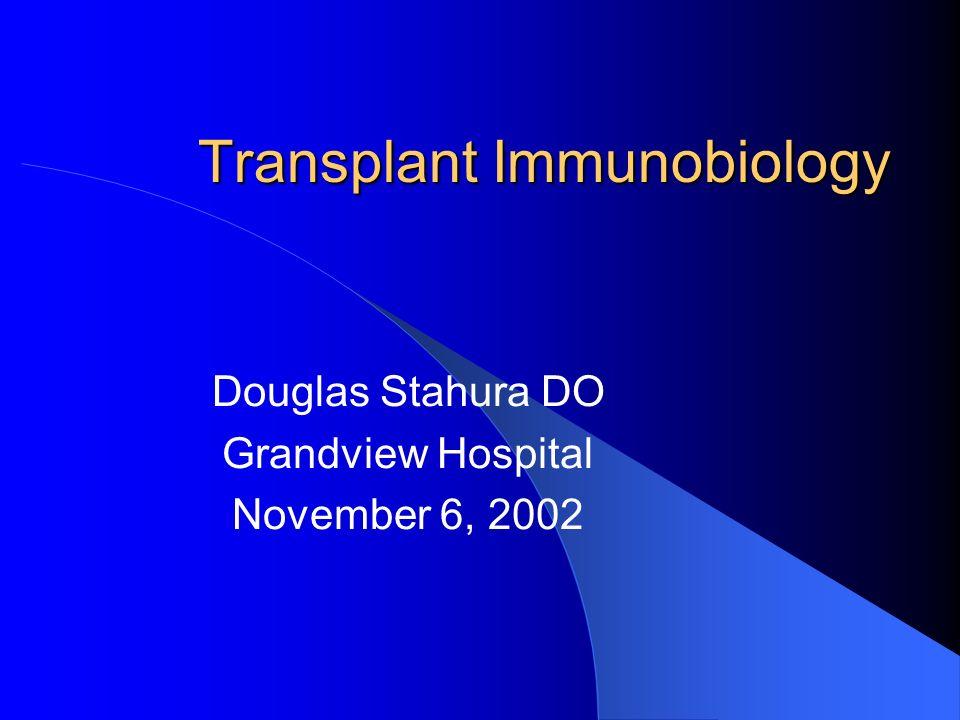 Transplant Immunobiology Douglas Stahura DO Grandview Hospital November 6, 2002