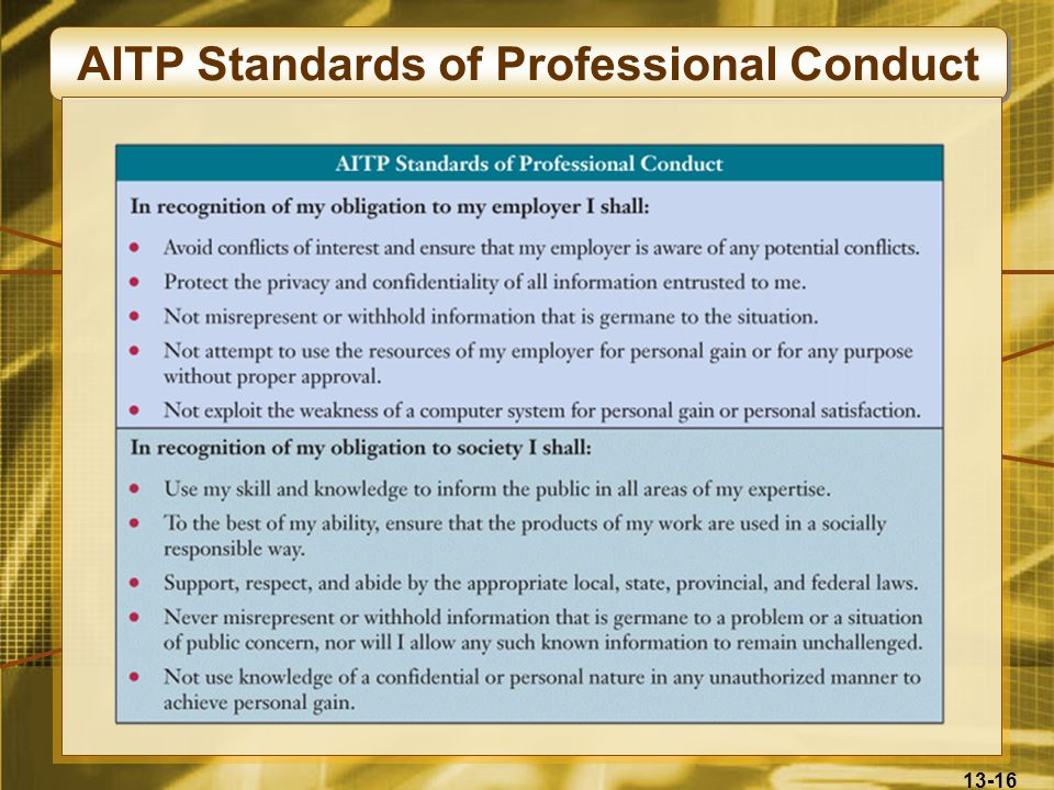 13-16 AITP Standards of Professional Conduct