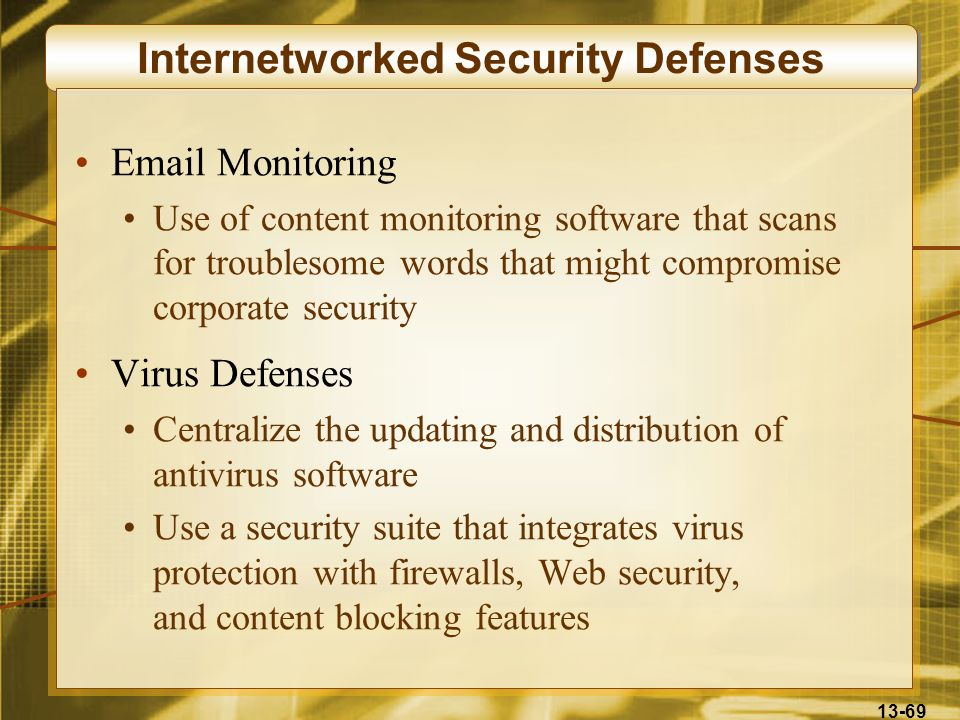 13-69 Internetworked Security Defenses Email Monitoring Use of content monitoring software that scans for troublesome words that might compromise corp