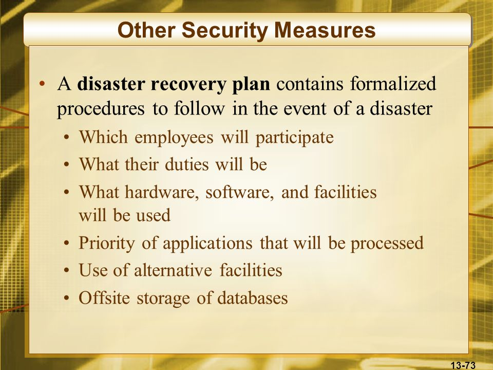 13-73 Other Security Measures A disaster recovery plan contains formalized procedures to follow in the event of a disaster Which employees will partic