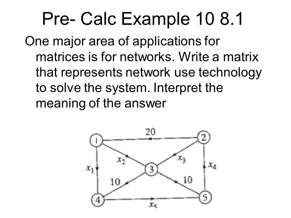 Pre- Calc Example 10 8.1 One major area of applications for matrices is for networks. Write a matrix that represents network use technology to solve t