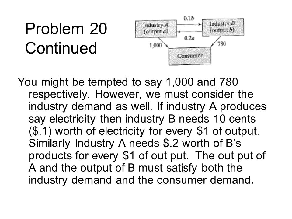 Problem 20 Continued You might be tempted to say 1,000 and 780 respectively. However, we must consider the industry demand as well. If industry A prod