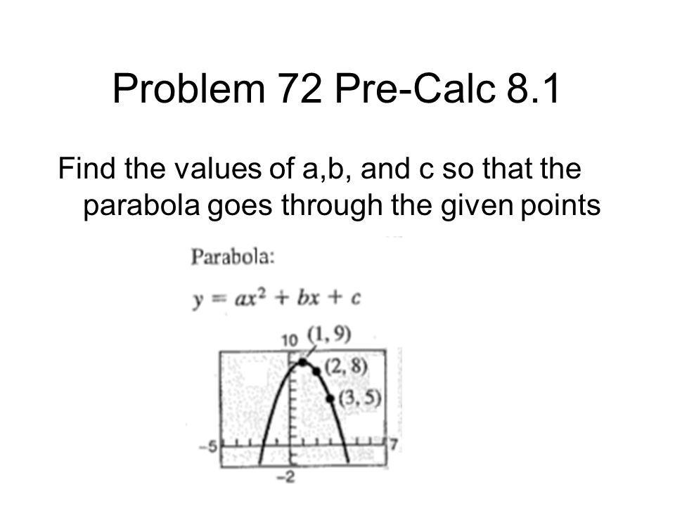 Solution to problem 72 pre-Calc Substitute in x and y to obtain the following equations a(1) + b(1) + c = 9 a(4) + b(2) + c = 8 a(9) + b(3) + c = 5 This can be thought of as the following matrix 11 1 9 42 1 8 93 1 5 And solved on a TI 89 graphing calculator rref([1,1,1,9;4,2,1,8;9,3,1,5])