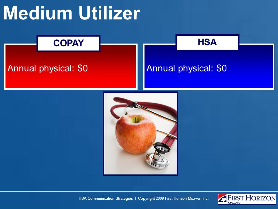 Medium Utilizer Annual physical: $0 COPAY HSA HSA Communication Strategies | Copyright 2009 First Horizon Msaver, Inc.