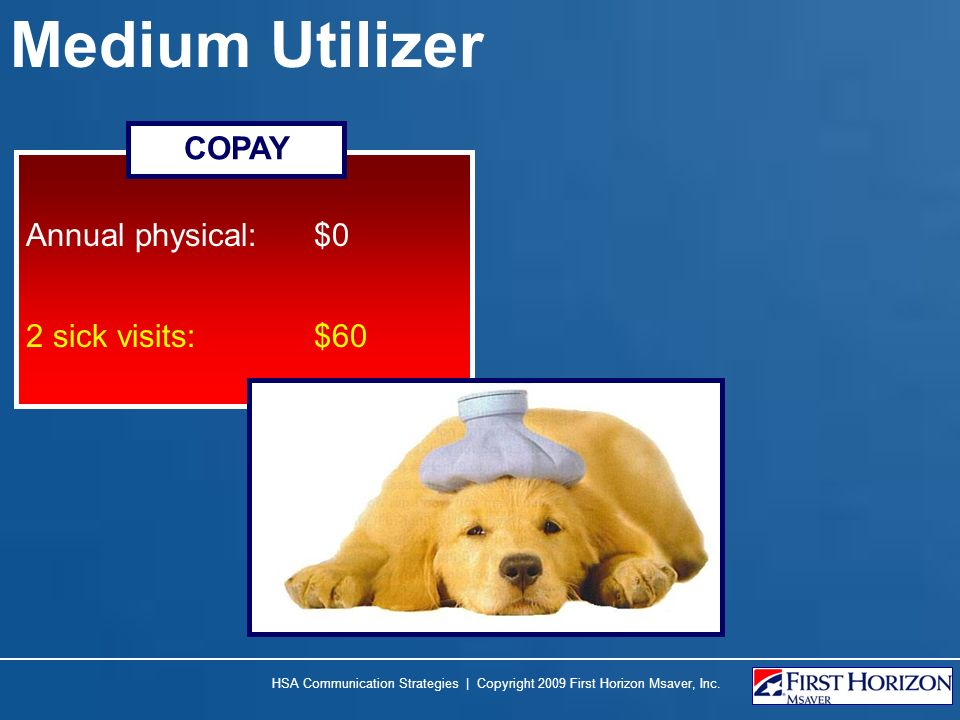 Medium Utilizer Annual physical: $0 2 sick visits:$60 COPAY HSA Communication Strategies | Copyright 2009 First Horizon Msaver, Inc.