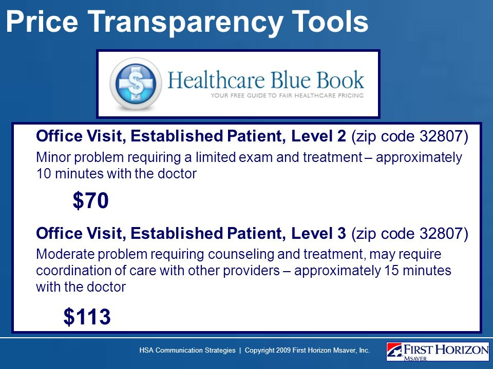 Price Transparency Tools Office Visit, Established Patient, Level 2 (zip code 32807) Minor problem requiring a limited exam and treatment – approximately 10 minutes with the doctor $70 Office Visit, Established Patient, Level 3 (zip code 32807) Moderate problem requiring counseling and treatment, may require coordination of care with other providers – approximately 15 minutes with the doctor $113 HSA Communication Strategies | Copyright 2009 First Horizon Msaver, Inc.