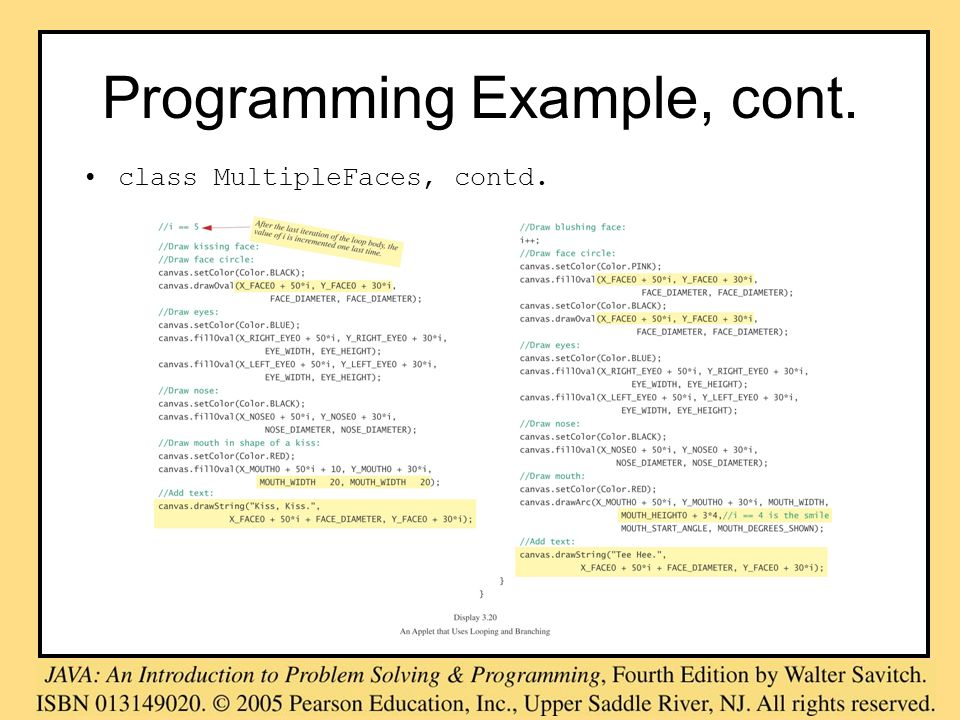 Programming Example, cont. class MultipleFaces, contd.