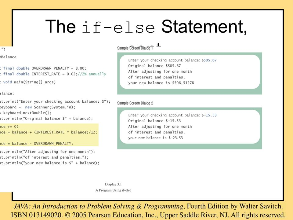 The switch Statement, cont. class MultipleBirths