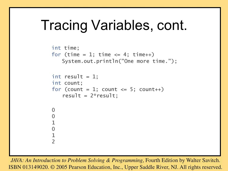 Tracing Variables, cont.