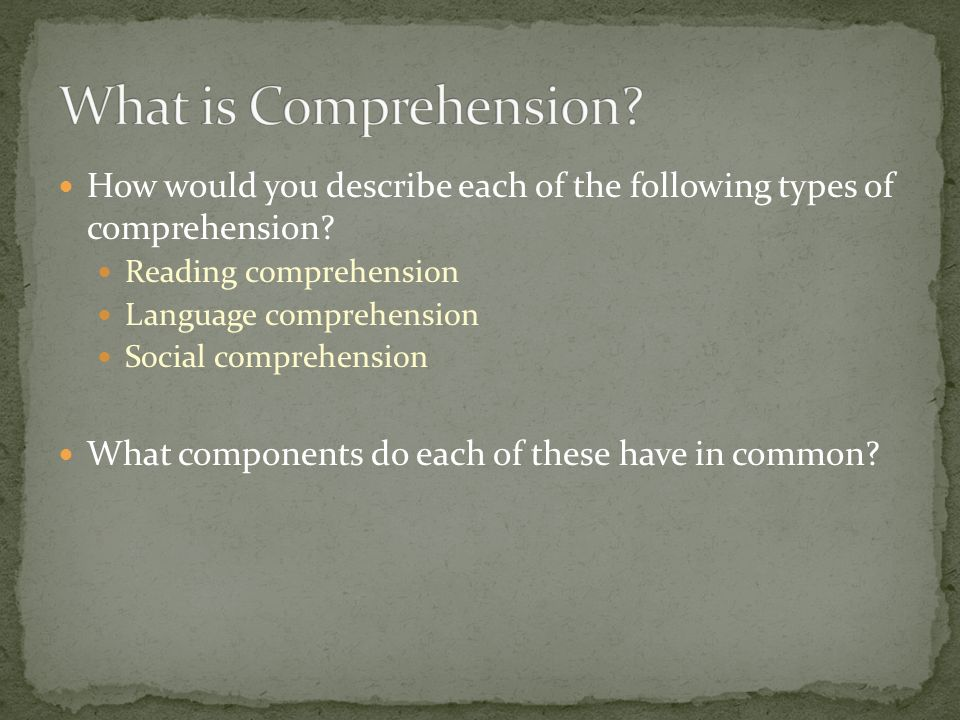 How would you describe each of the following types of comprehension? Reading comprehension Language comprehension Social comprehension What components