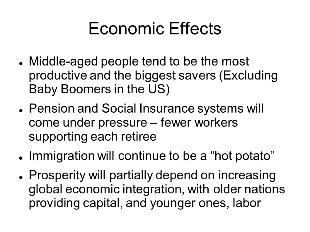 Economic Effects Middle-aged people tend to be the most productive and the biggest savers (Excluding Baby Boomers in the US) Pension and Social Insura