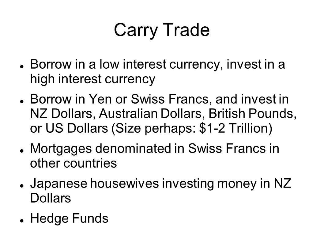 Carry Trade Borrow in a low interest currency, invest in a high interest currency Borrow in Yen or Swiss Francs, and invest in NZ Dollars, Australian