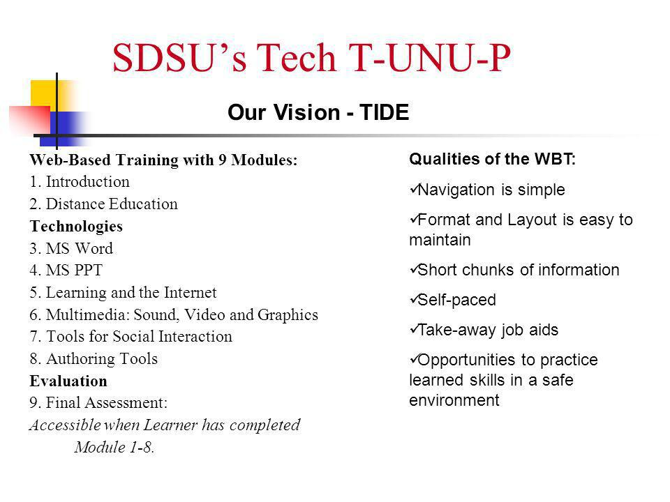 SDSUs Tech T-UNU-P Web-Based Training with 9 Modules: 1.