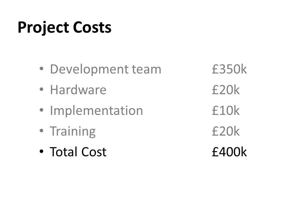 Project Costs Development team £350k Hardware£20k Implementation£10k Training£20k Total Cost£400k