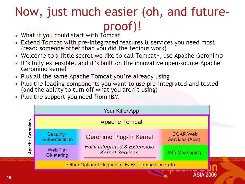 17 Today – With Tomcat plus other stuff you do yourself 1.Your developers have a job to do – write your killer app! 2.They chose Apache Tomcat because